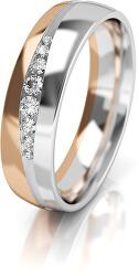 Dámský bicolor snubní prsten ze zlata se zirkony AUGDR002