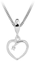 Strieborný náhrdelník s diamantom DAGS806 / 50 (retiazka, příívěsek)