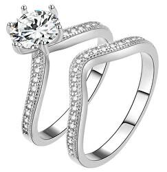 Dvojitý třpytivý prsten se zirkony AGG385
