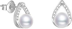 Elegantné strieborné náušnice kôstky s pravou sladkovodné perlou AGUP2266P