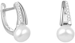 Elegantné strieborné náušnice s pravou sladkovodné perlou AGUC2262P