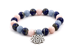Obrúbený náramok z jadeitu, lapis lazuli a Angelito MINK70 / 17