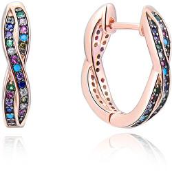 Gyönyörű aranyozott ezüst fülbevalók cirkónium kövekkel AGUC2252-ROSE