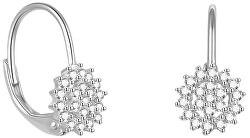 Krásné stříbrné náušnice s třpytivými zirkony AGUC2265