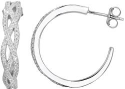 Cercei rotunzi din argint de lux cu cristale AGUP1173