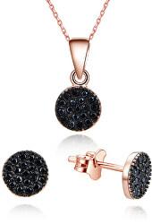 Magická souprava šperků ze stříbra se zirkony AGSET267-ROSE (náhrdelník, náušnice)