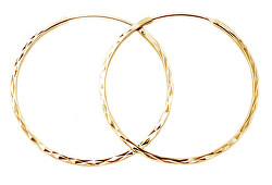 Cercei rotunzi, placați cu aur, din argint AGUC2439/SCS-GOLD