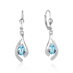 Nádherné stříbrné náušnice se světle modrými zirkony AGUC2693-T
