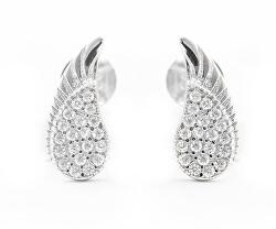 Něžné stříbrné náušnice s čirými zirkony Andělská křídla AGUP2092