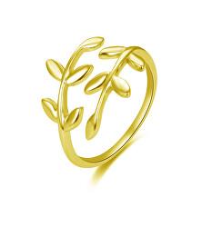Otevřený pozlacený prsten s originálním designem AGG468-G