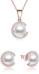 Pozlátená súprava šperkov zo striebra s pravými perlami AGSET285P-ROSE (náhrdelník, náušnice)