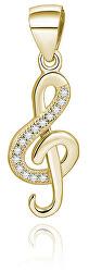 Pozlátený prívesok so zirkónmi Husľový kľúč AGH591-GOLD