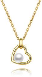 Pozlátený strieborný náhrdelník s riečnou perlou AGS1230 / 47P-GOLD