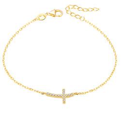 Pozlátený strieborný náramok s krížikom AGB484 / 20-GOLD