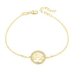 Pozlátený strieborný náramok so stromom života AGB485 / 20-GOLD