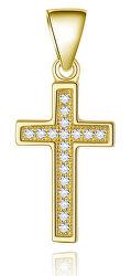 Pozlátený strieborný prívesok Krížik AGH589-GOLD