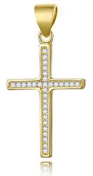 Pozlátený strieborný prívesok Krížik AGH592-GOLD