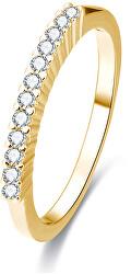Pozlacený stříbrný prsten s krystaly AGG189