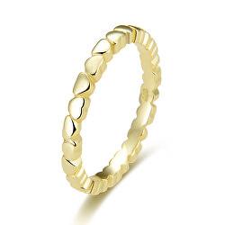 Pozlacený stříbrný prsten se srdíčky AGG344-GOLD
