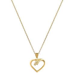 Pozlaceý strieborný náhrdelník so srdcom AGS1138 / 47-GOLD (retiazka, prívesok)