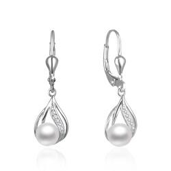 Půvabné stříbrné náušnice s pravými perlami AGUC2705P
