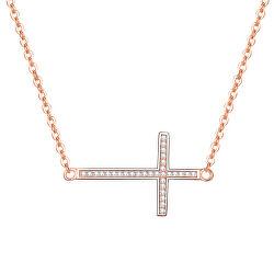 Růžově pozlacený stříbrný náhrdelník s křížkem AGS196/47-ROSE