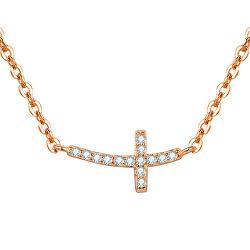 Růžově pozlacený stříbrný náhrdelník s křížkem AGS546/47-ROSE