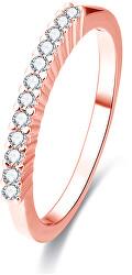 Růžově pozlacený stříbrný prsten s krystaly AGG188