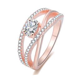 Růžově pozlacený stříbrný prsten se zirkony AGG331