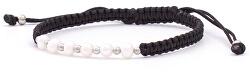 Šnúrkový čierny kabala náramok s pravými perlami AGB550