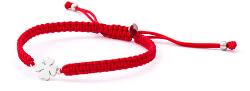 Šnúrkový červený kabala náramok Štvorlístok AGB566