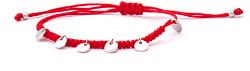 Šňůrkový červený kabala náramek s přívěsky AGB556