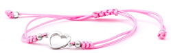 Šňůrkový růžový kabala náramek Srdce AGB551
