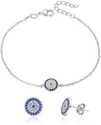 Strieborná súprava šperkov sa zirkónmi AGSET286 (náramok, náušnice)