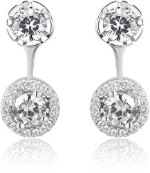 Luxusní stříbrné náušnice 2v1 s krystaly AGUP1172