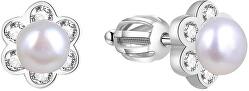 Strieborné kvietkované náušnice s perličkou AGUP1577PS