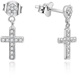 Orecchini croce in argento con pietre AGUP1176