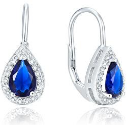 Stříbrné náušnice s modrými zirkony AGUC2226