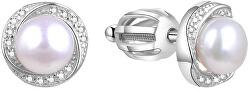 Strieborné náušnice s pravou perlou TAGUP1585PS