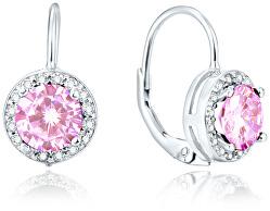 Stříbrné náušnice s růžovými krystaly AGUC1159
