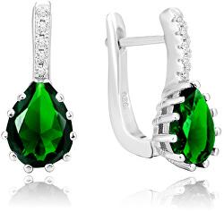Stříbrné náušnice se zeleným krystalem AGU1198