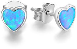 Stříbrné srdíčkové náušnice s opalizujícími krystaly AGUP1186