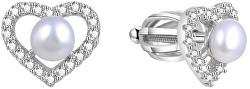 Strieborné srdiečkové náušnice s pravou perlou AGUP1659PS
