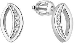 Stříbrné třpytivé náušnice AGUP1436S