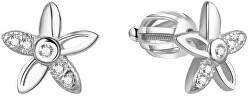 Stříbrné třpytivé náušnice kytičky AGUP1463S