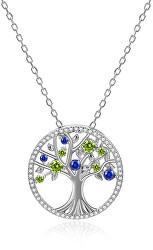 Stříbrný náhrdelník s třpytivými zirkony Strom života AGS1232/47