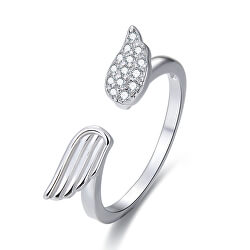 Stříbrný otevřený prsten se zirkony AGG336