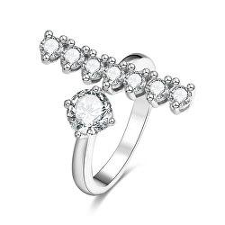 Stříbrný otevřený prsten se zirkony AGG343