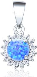 Stříbrný přívěsek s modrým syntetickým opálem a čirými krystaly AGH98