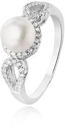 Stříbrný prsten s krystaly a pravou perlou AGG205